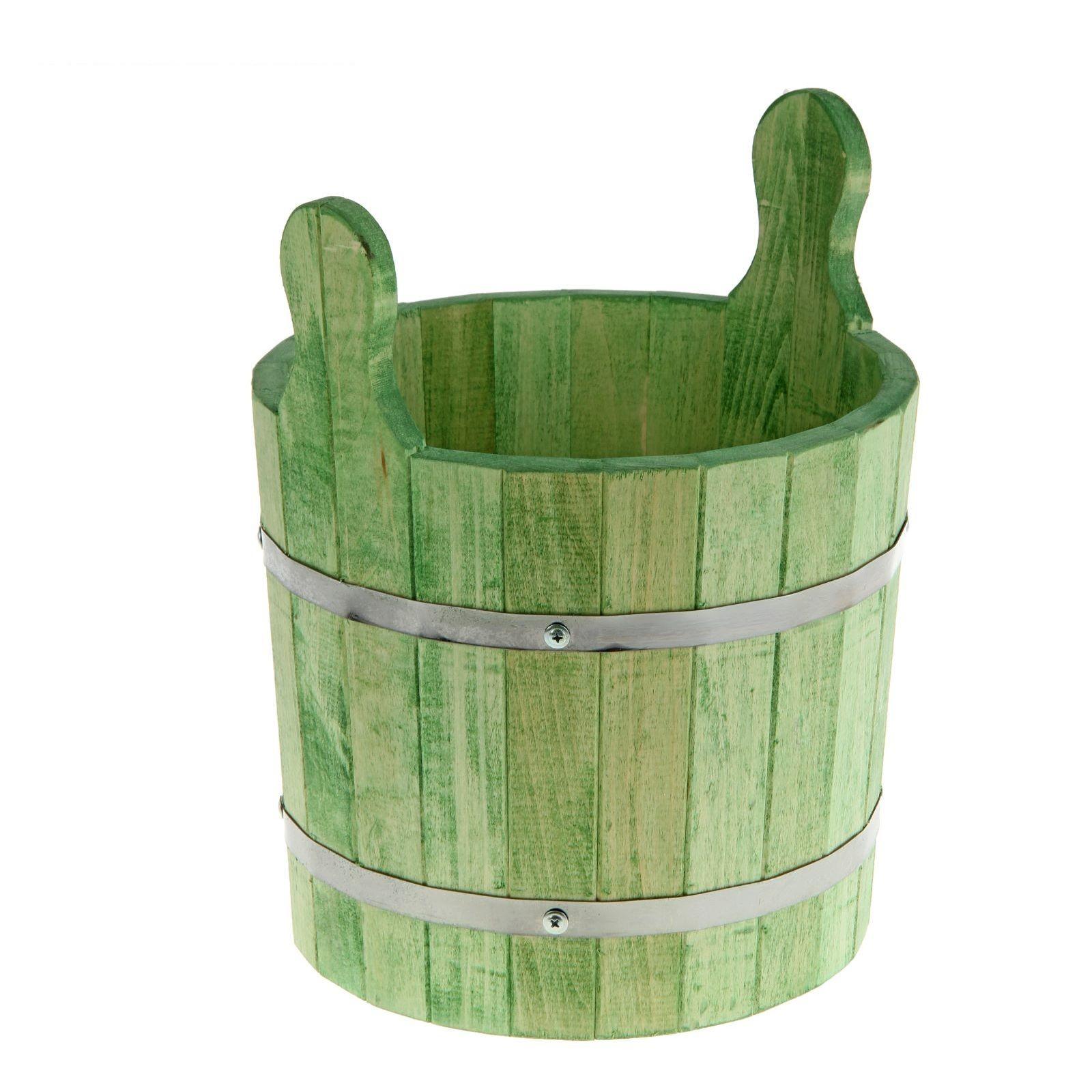 Запарник-ушат 8 литров, цвет еловая зелень, липа добрая баня