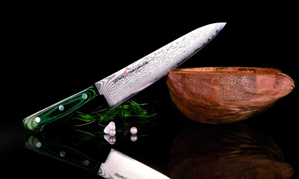 Нож кухонный европейский шеф Samura Tamahagane St-0085 лезв 212 мм