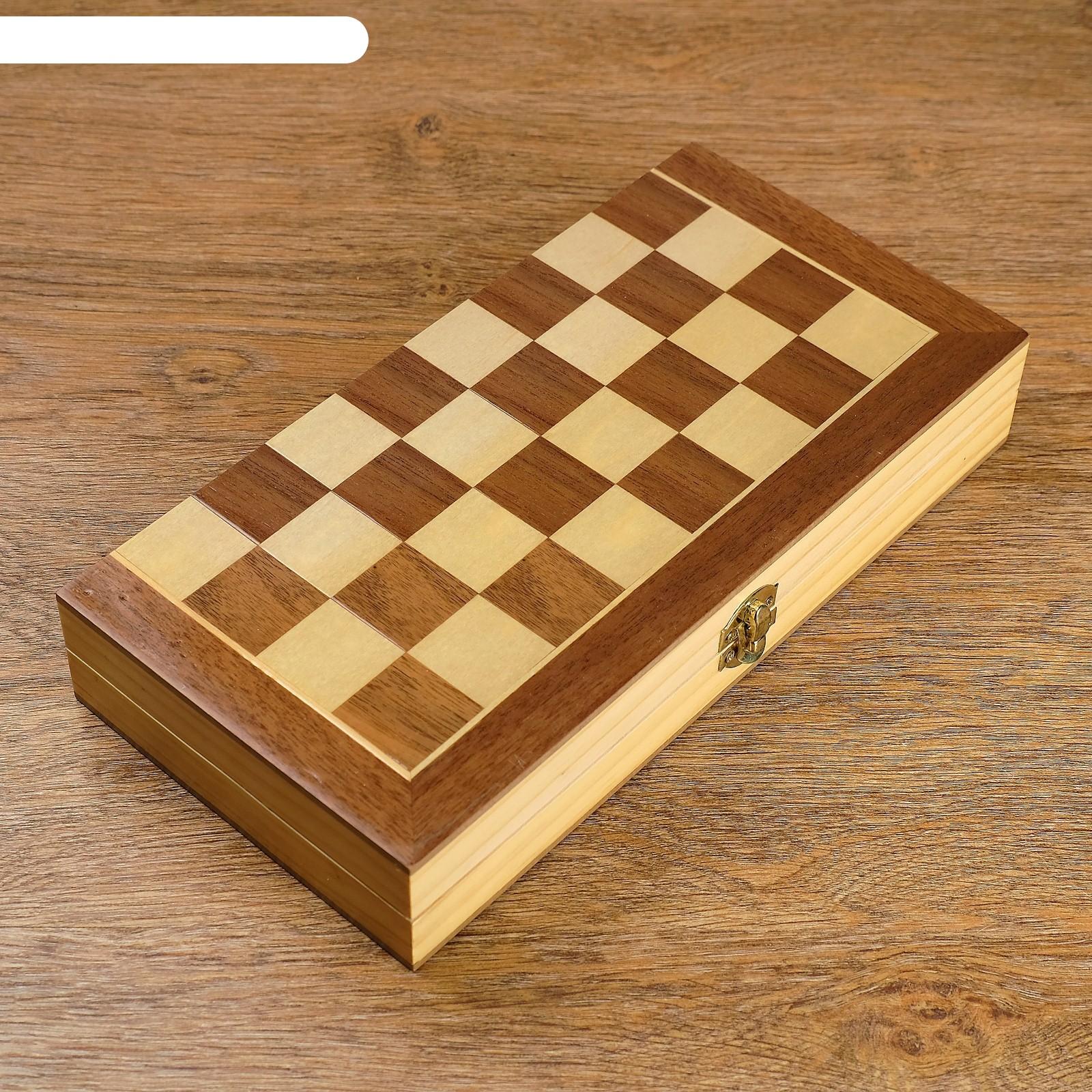Шахматы деревянные, доска магнитная из сборных шашечек, фигуры в подложке