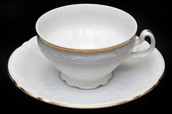 """Набор для чая """"бернадот белый"""" на 6перс.12пред. низкие на ножке"""