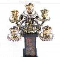 Каминный набор охота, камень яшма, долерит, литье бронза