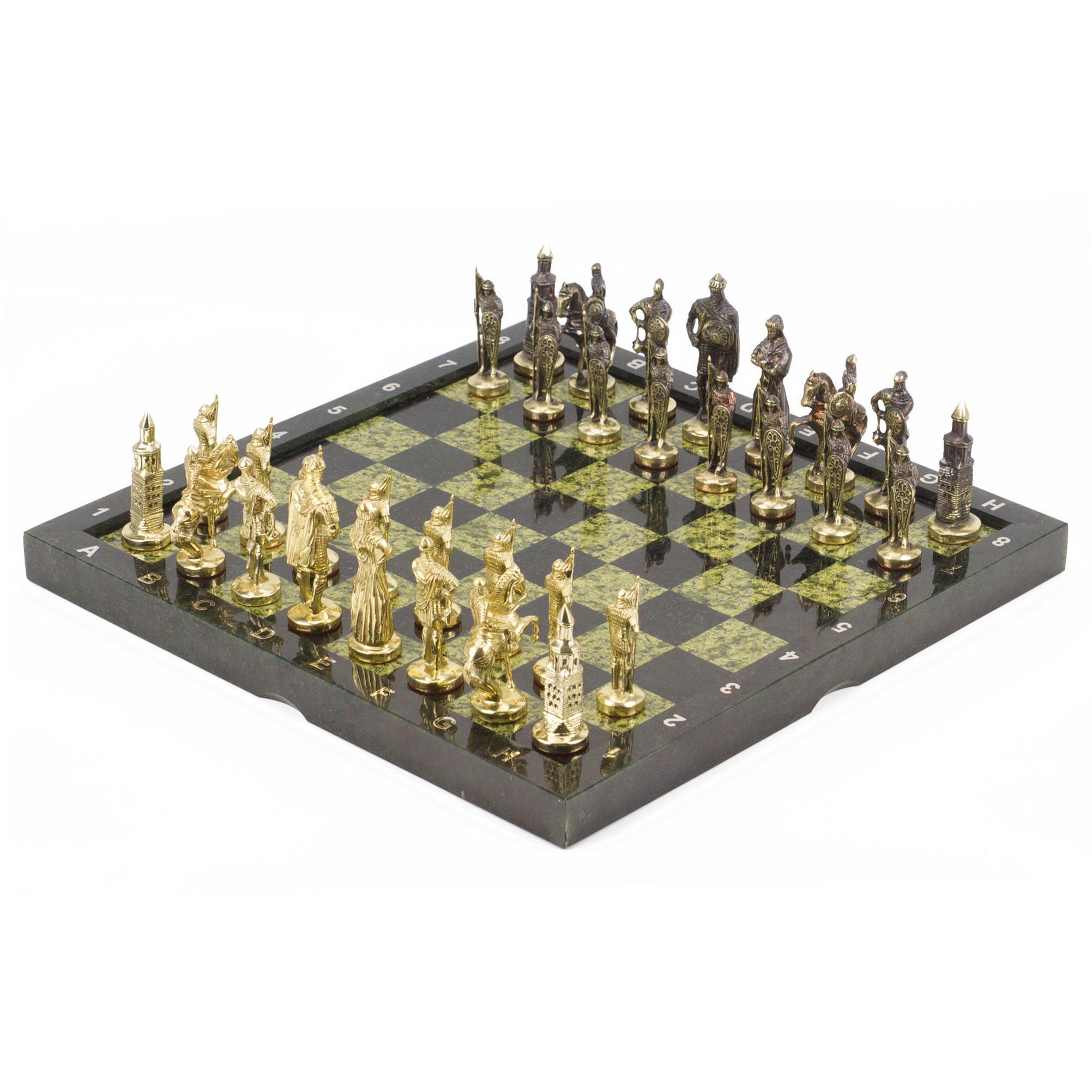 Шахматы Русские, фигуры - бронза, доска змеевик, 36х36см