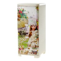 Комод детский плетёнка для девочек, 4 выдвижных ящика, цвет кремовый