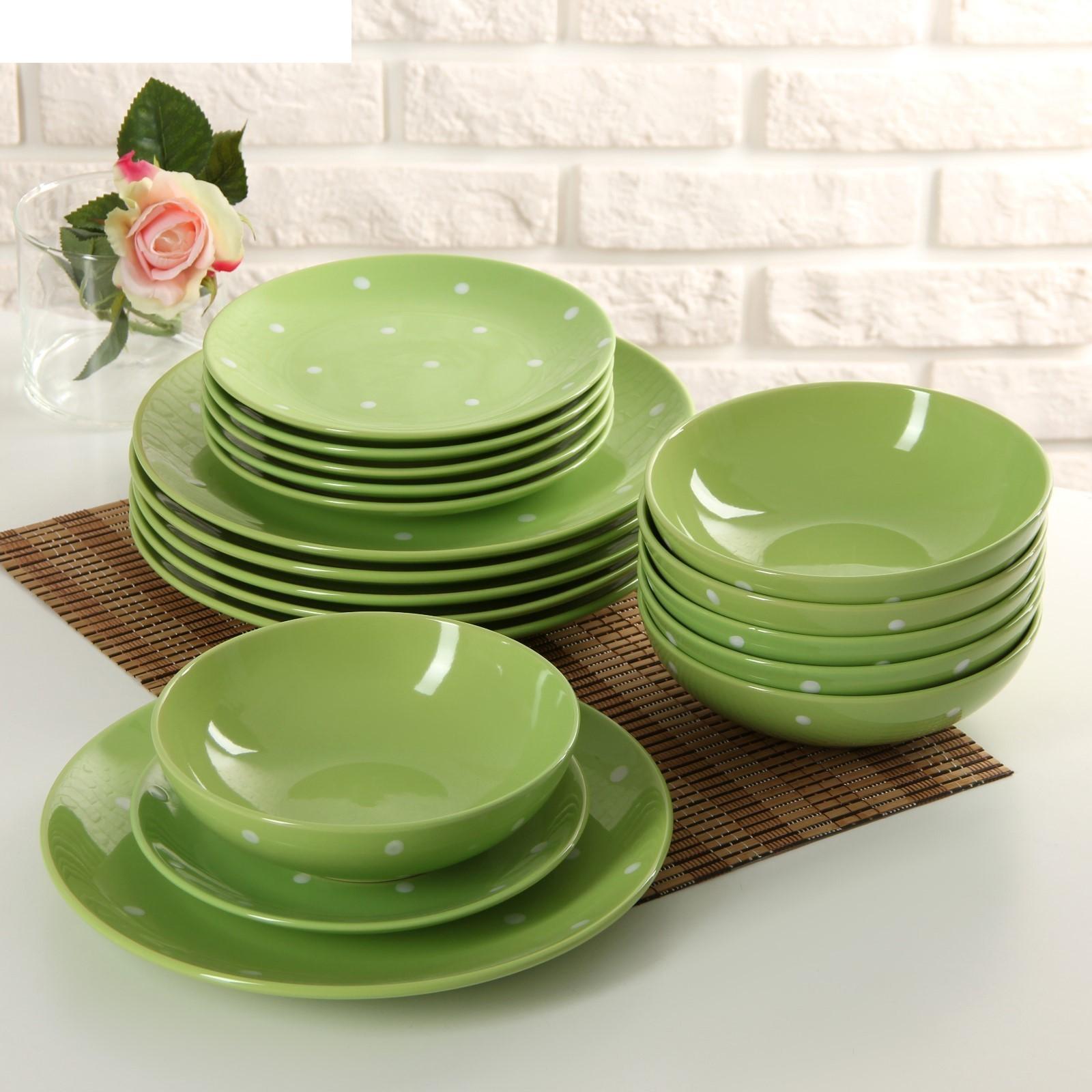 Сервиз столовый Зеленый горох, 18 предметов