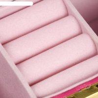 Шкатулка кожзам для украшений музыкальная ярко-розовая пастила 12х18х8,5 с