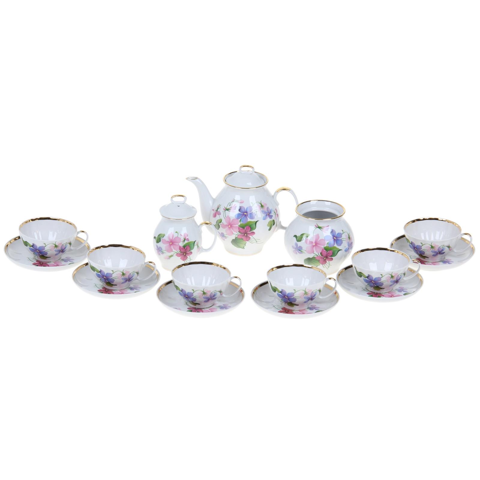 Сервиз чайный Фиалки, 15 предметов