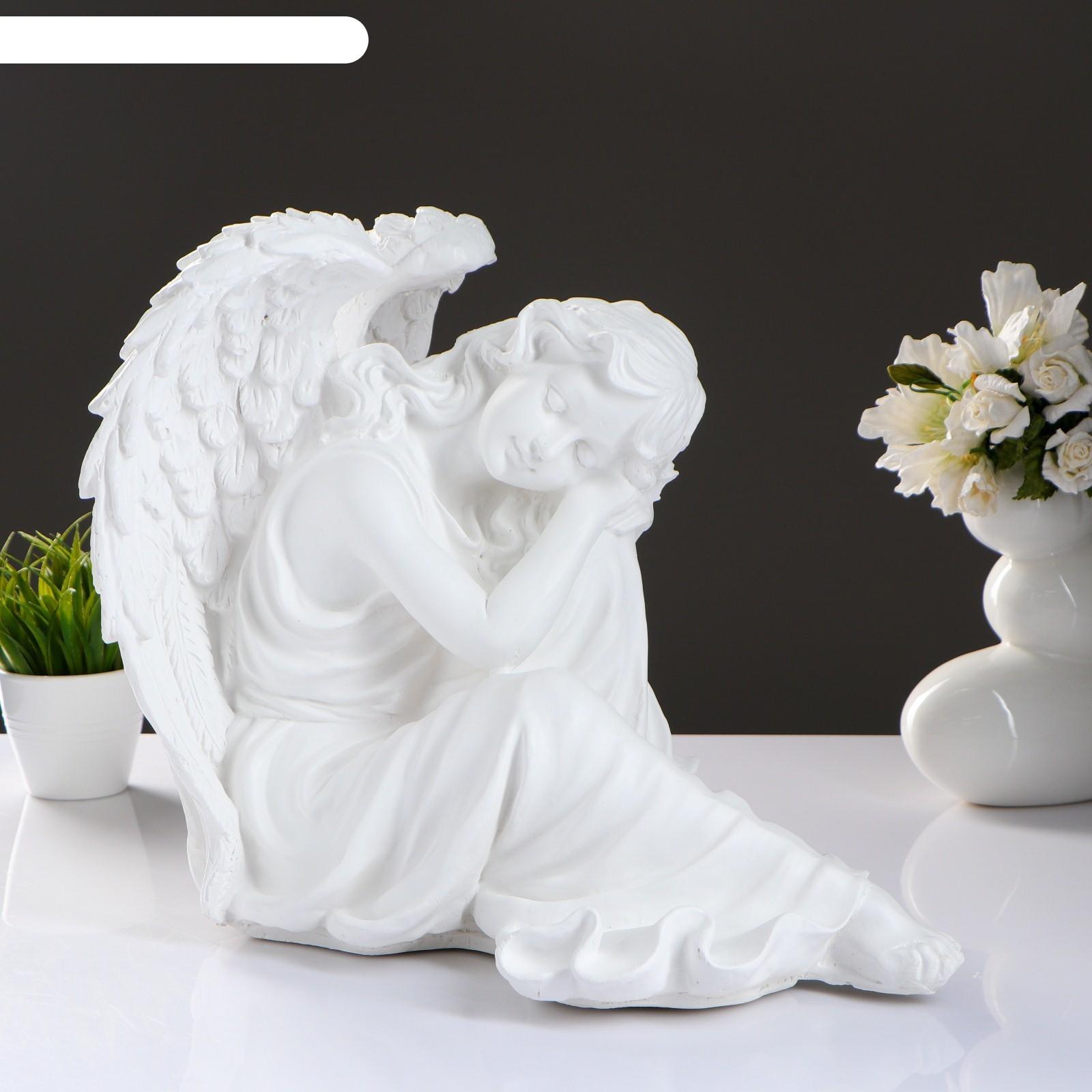 Статуэтка ангел девушка сидя большая белая