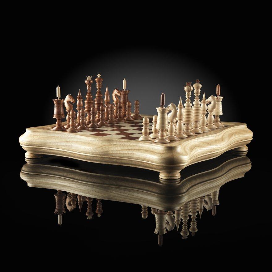 Шахматы барлейкорн светлая доска Kadun 45х45см