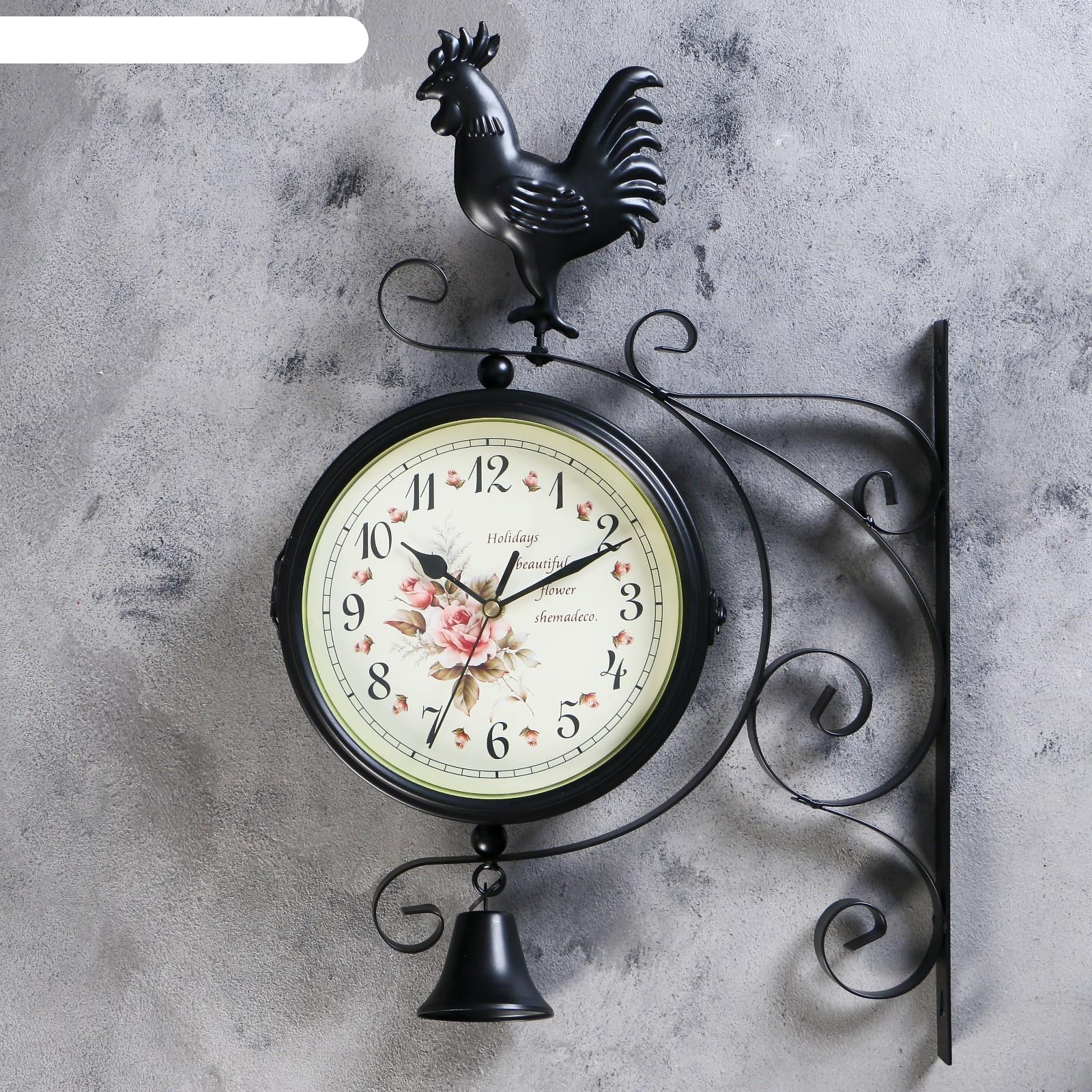 Часы настенные двойные, серия: Садовые, Флюгер, 32х48 см