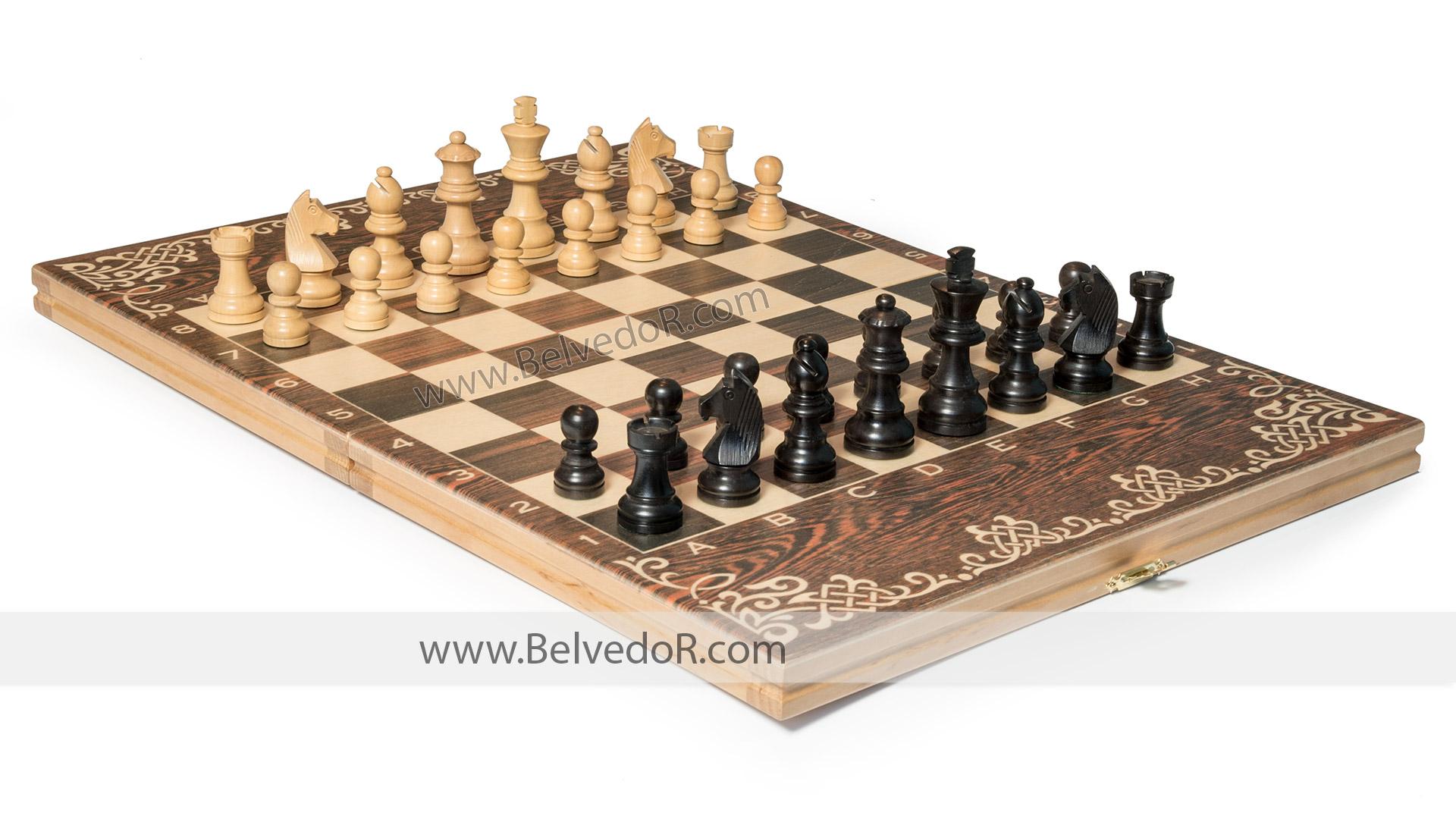 Шахматы малые фигуры самшит, эбен, король 7,6см, доска 35х50см