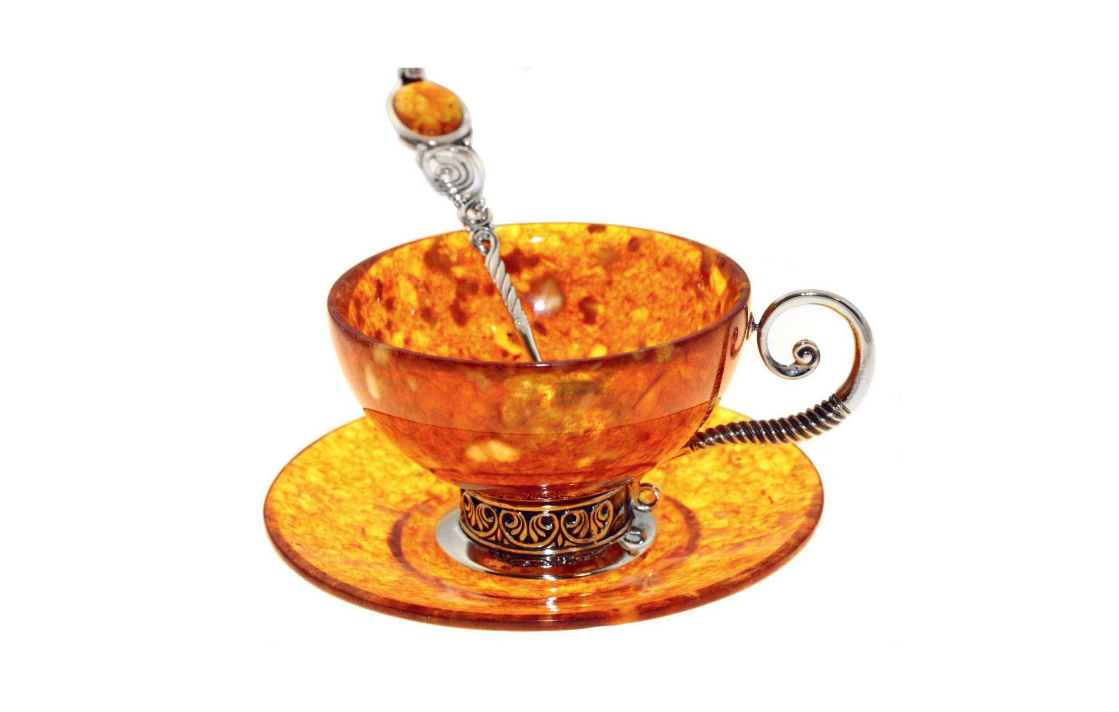 """Чайный набор из янтаря """"антик"""" на 1 персону (ювелирная бронза)"""