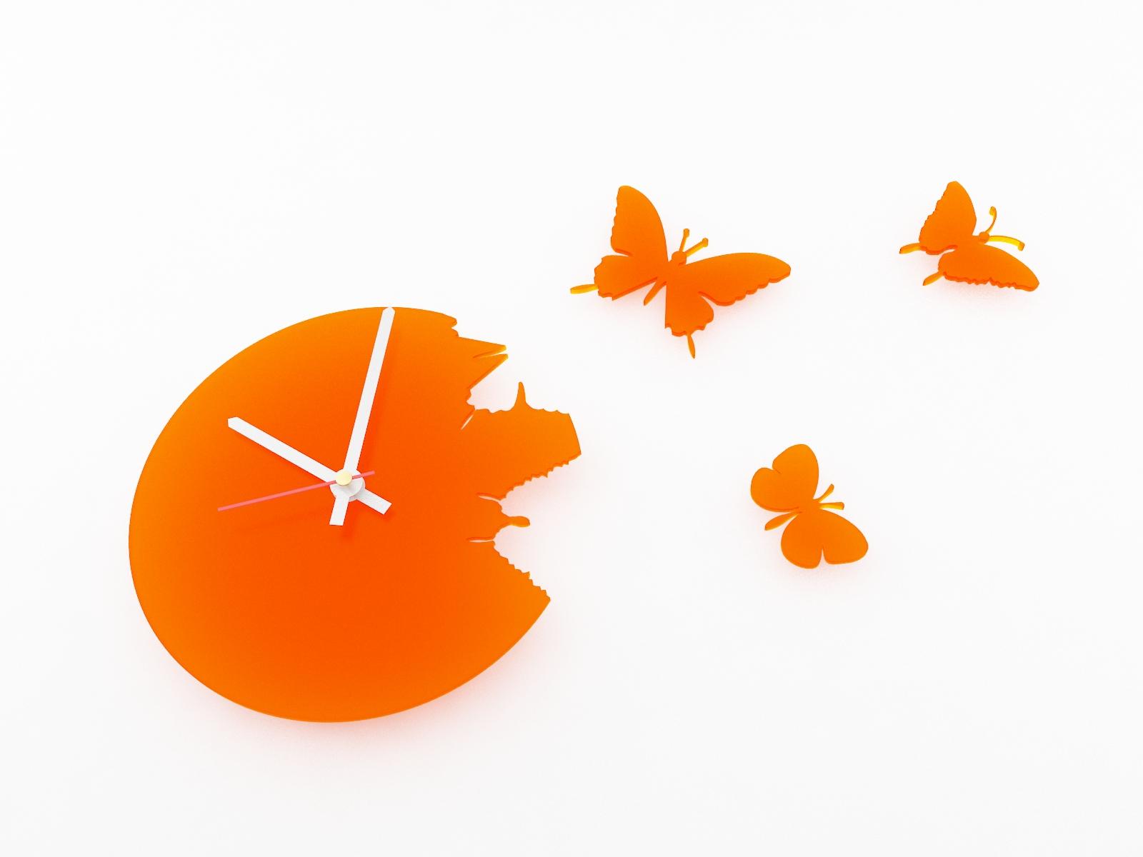 Настенные часы порхающие бабочки оранжевые 28х28см