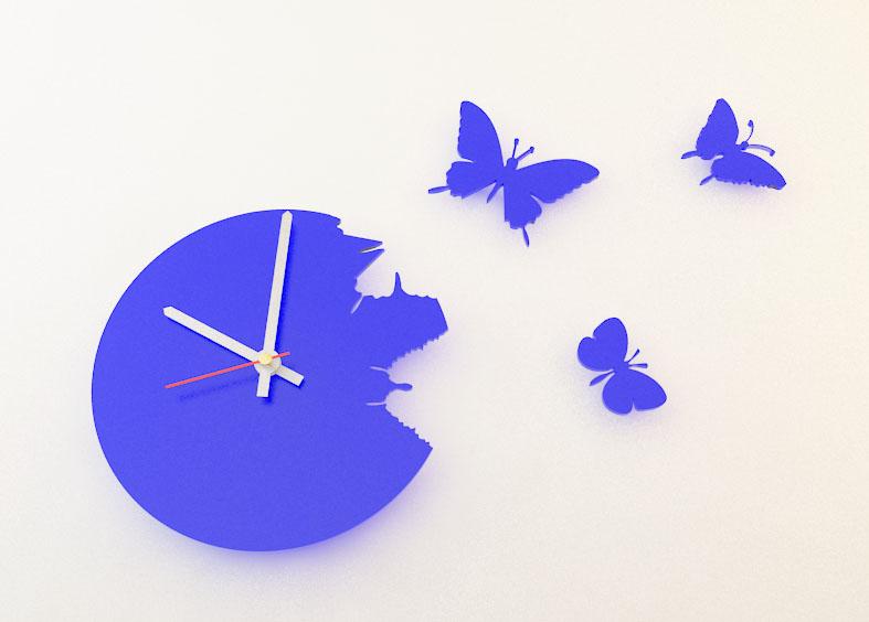 Настенные часы порхающие бабочки синие 28х28см