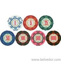 Фишки для покера Chips62 (казино рояль) 14 грамм с номиналом