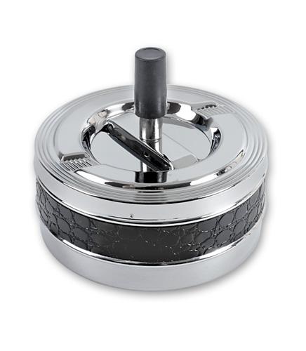 Пепельница S.Quire круглая, сталь, покрытие никель, искусственная кожа
