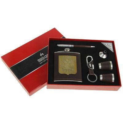 Набор 6в1 (фляжка 210 мл+брелок+воронка+ручка+2 рюмки) Russia, коричневый,