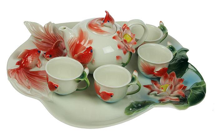 Подарочный набор для чайной церемонии золотая рыбка на 4 пер
