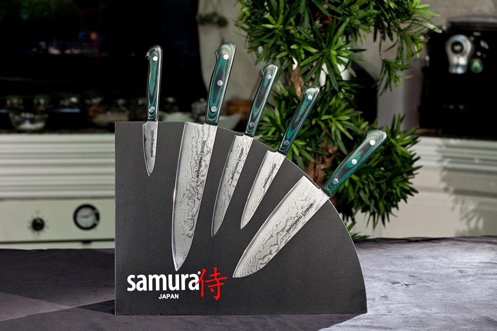 Набор из 5 кухонных стальных ножей и магнитной подставки Tamahagane