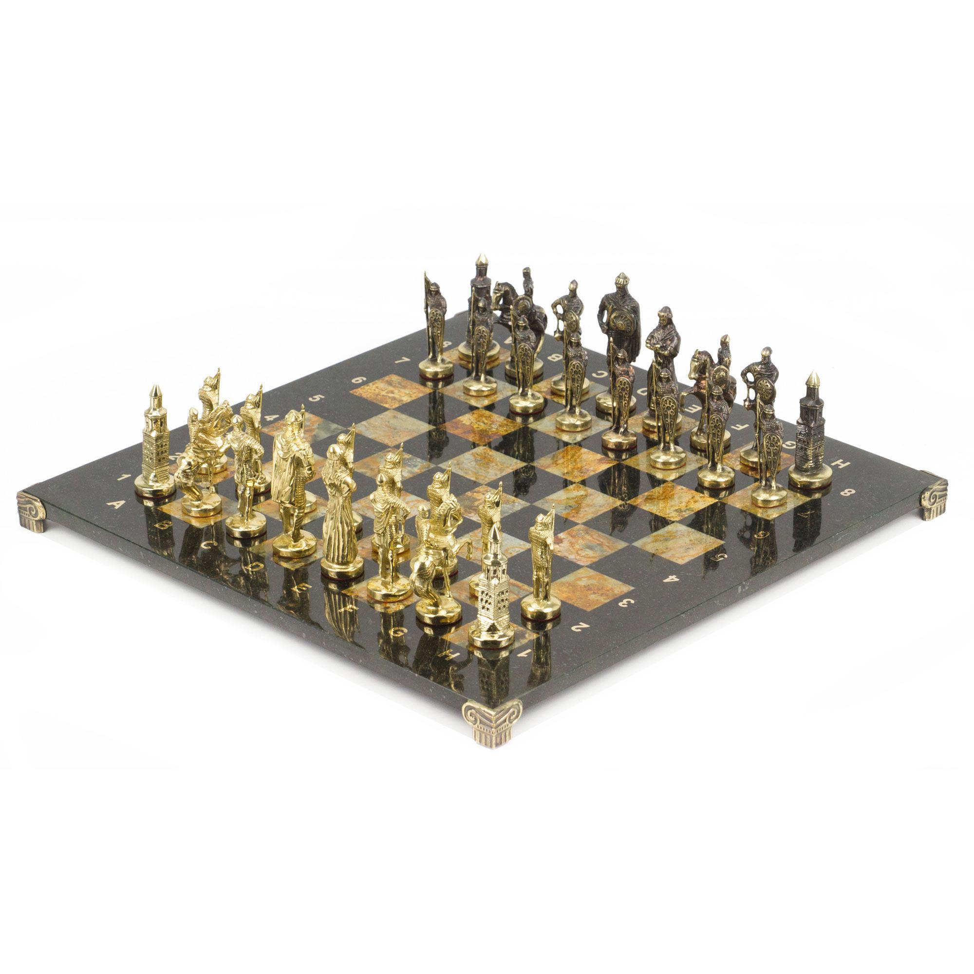 Шахматы Русские фигуры из бронзы, доска змеевик и офиокальцит 40х40см