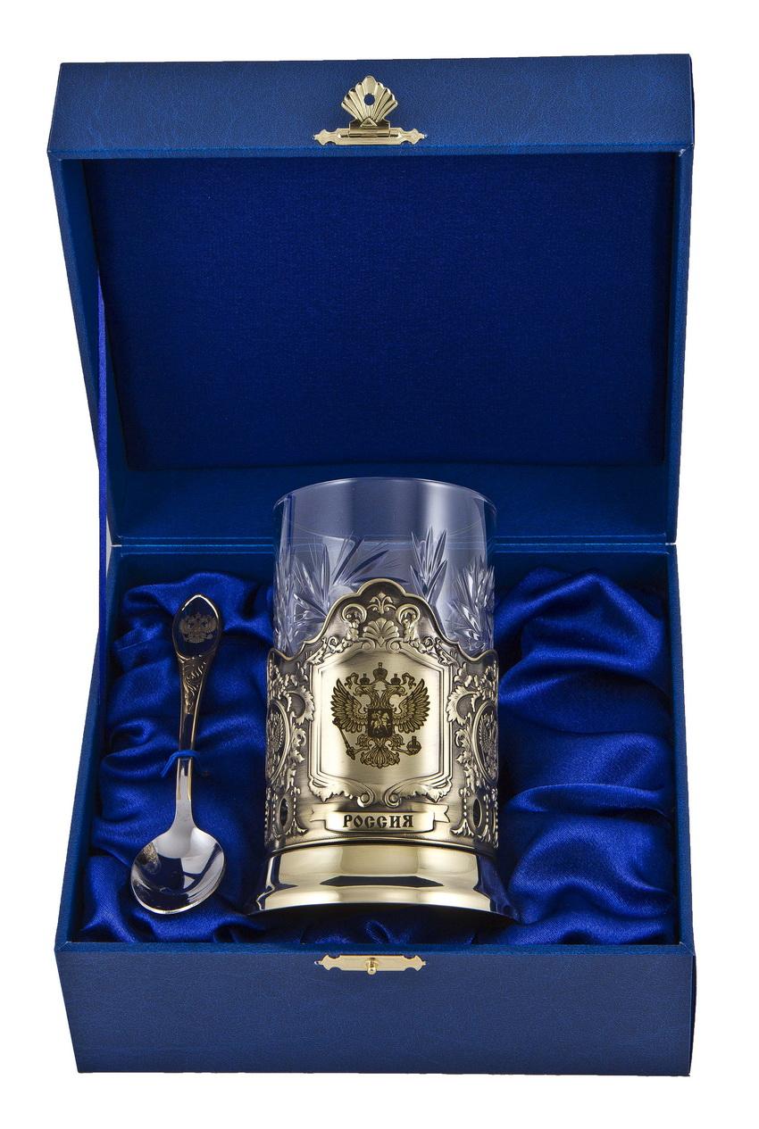 Набор для чая россия (3 пр.) арт. пд-77(герб)-л