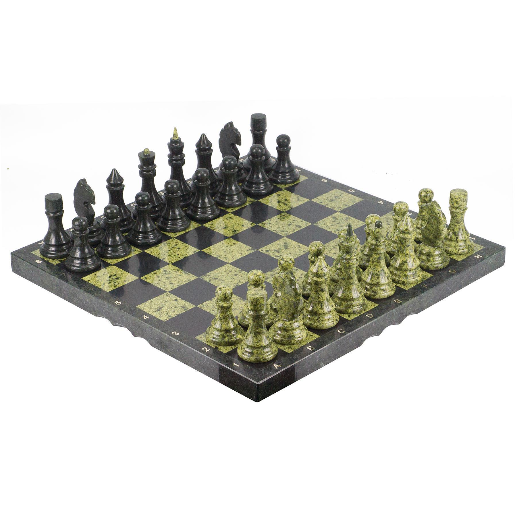 Шахматы камень змеевик доска 480х480 мм 18 кг