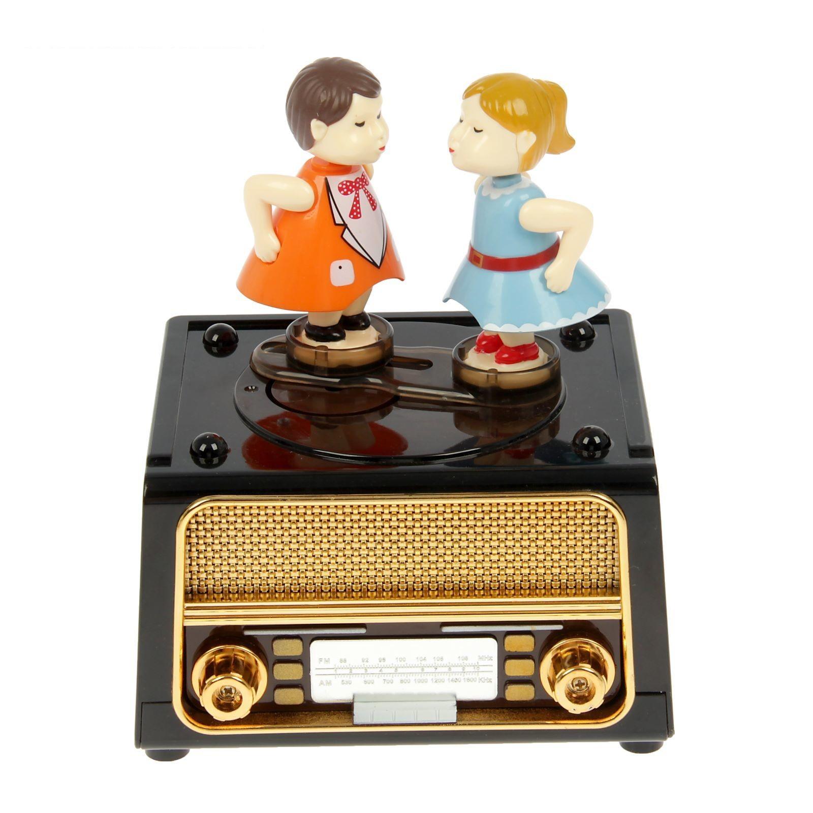 Шкатулка музыкальная механическая танцы под музыку 14х11,5х17,5 см