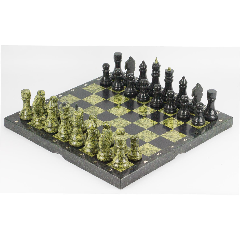 Шахматы камень змеевик (доска 40х40 см)