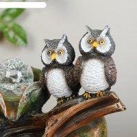 Фонтан две совы у камня 20,5х27 см (с подсветкой)
