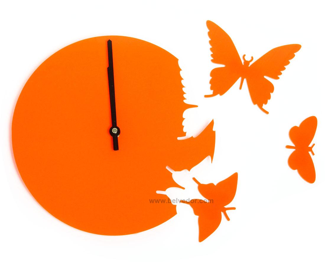 Часы порхающие бабочки оранж  Cl104ор 28х28см