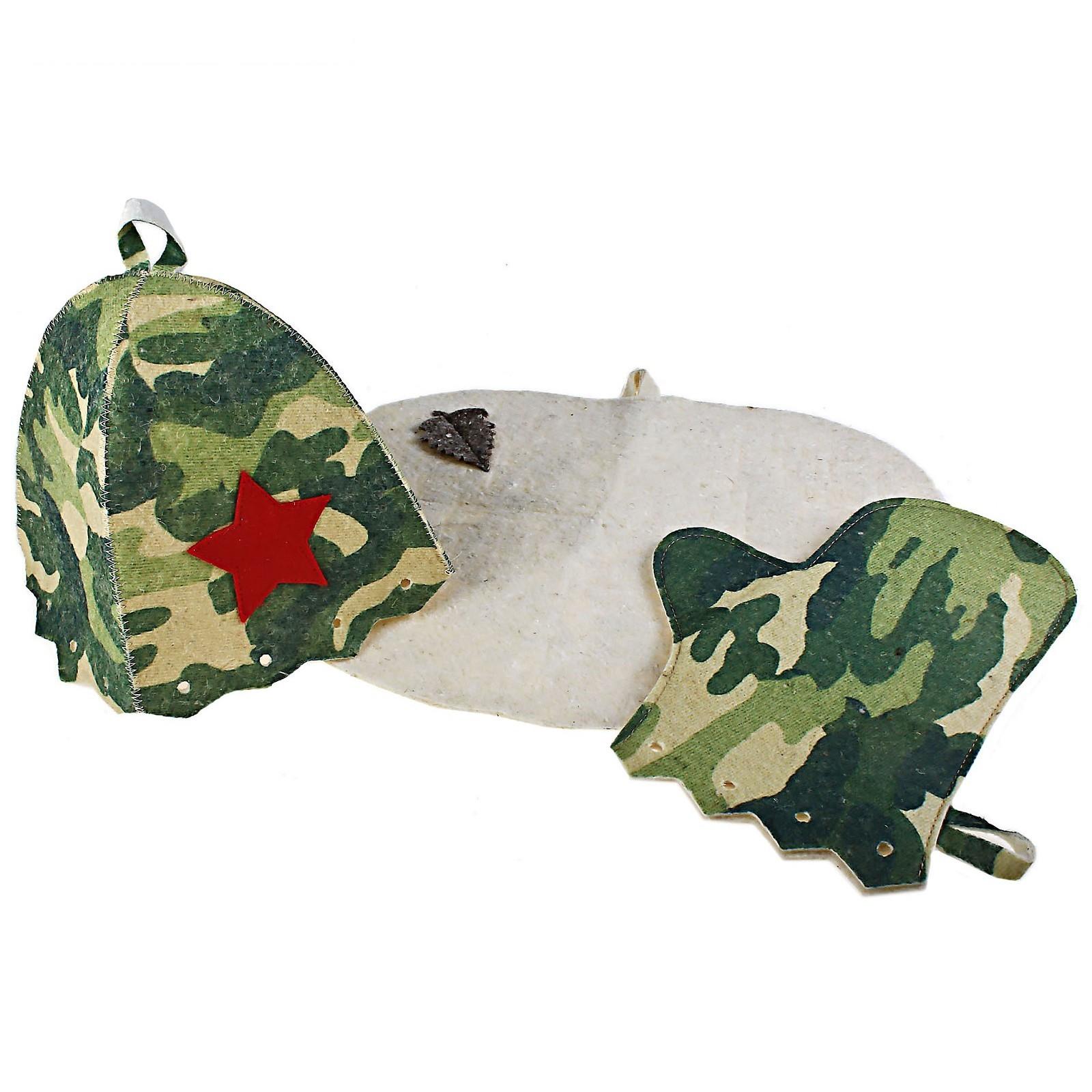 Набор для бани камуфляж шапка, рукавица, коврик