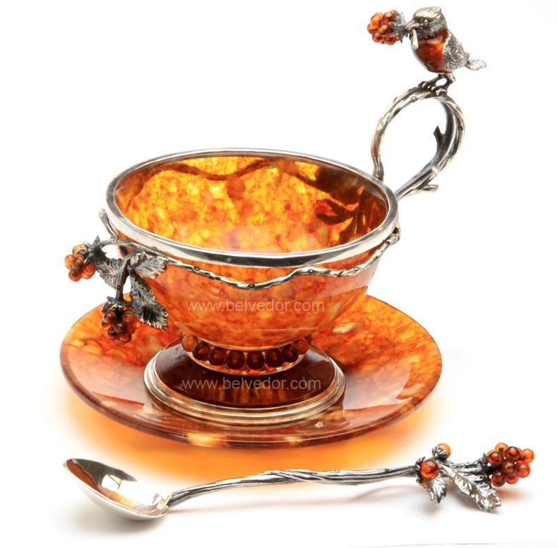"""Чашка чайная из янтаря """"малиновка"""" на 1 персону (ювелирная бронза)"""