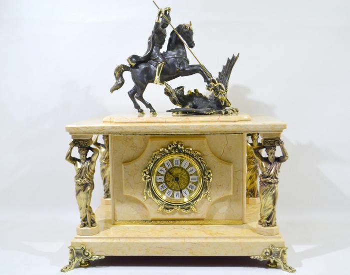 Часы-сейф из мрамора георгий победоносец(арт.с-023)