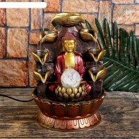 Фонтан настольный от сети, подсветка будда у скалы с чашами 26х20х20 см