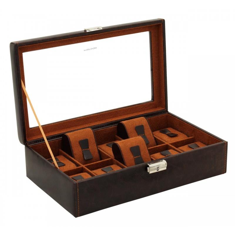 Шкатулка для хранения 10 часов с прозрачной крышкой коричневый велюр