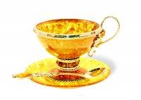"""Чайный набор """"виноград"""" из янтаря (ювелирная бронза)"""