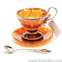 "Чашка чайная ""виноград"" из янтаря на 1 персону (серебро)"