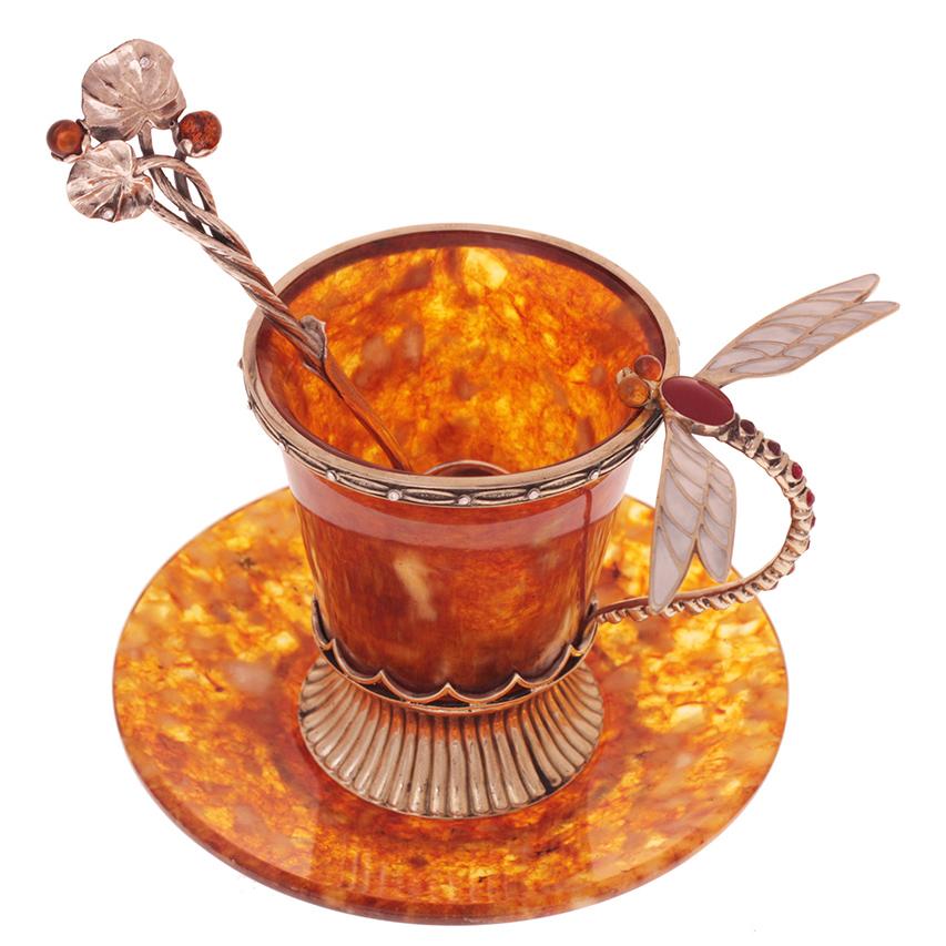 """Чашка кофейная """"стрекоза"""" из янтаря в ювелирной бронзе"""