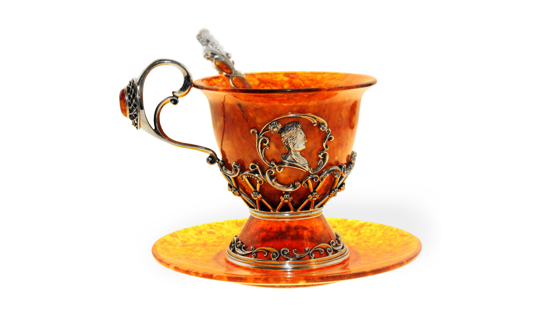 """Чашка чайная """"екатерина"""" из янтаря и серебра"""