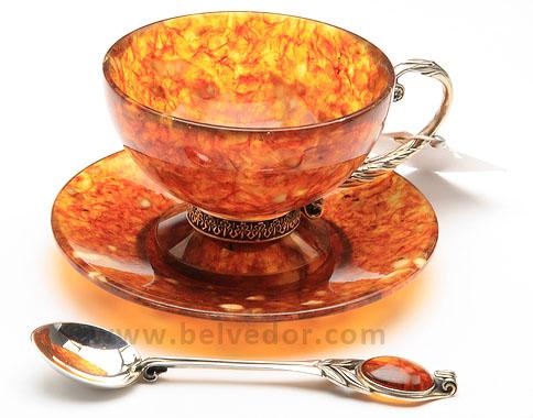 Чайный набор из янтаря на 2 персоны (3 предмета, ювелирная бронза)