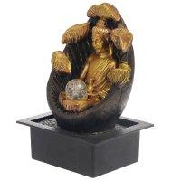 Фонтан полистоун будда с лотосом 35х25х20 см