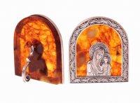 """Янтарная иконка """"богородица"""" в ювелирной бронзе"""