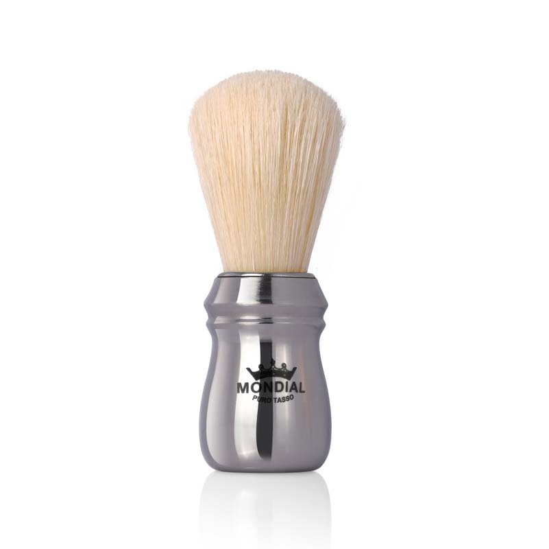 Помазок для бритья Mondial, пластик, свиной ворс, рукоять - серебристый цв