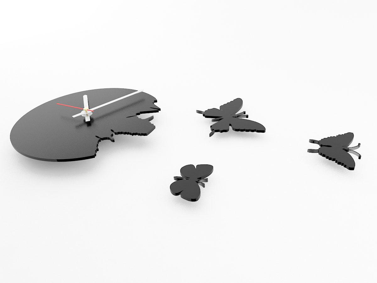Настенные часы порхающие бабочки черные 28х28см