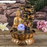 Фонтан настольный полистоун 220в будда у скалы с чашами 30х21х21 см