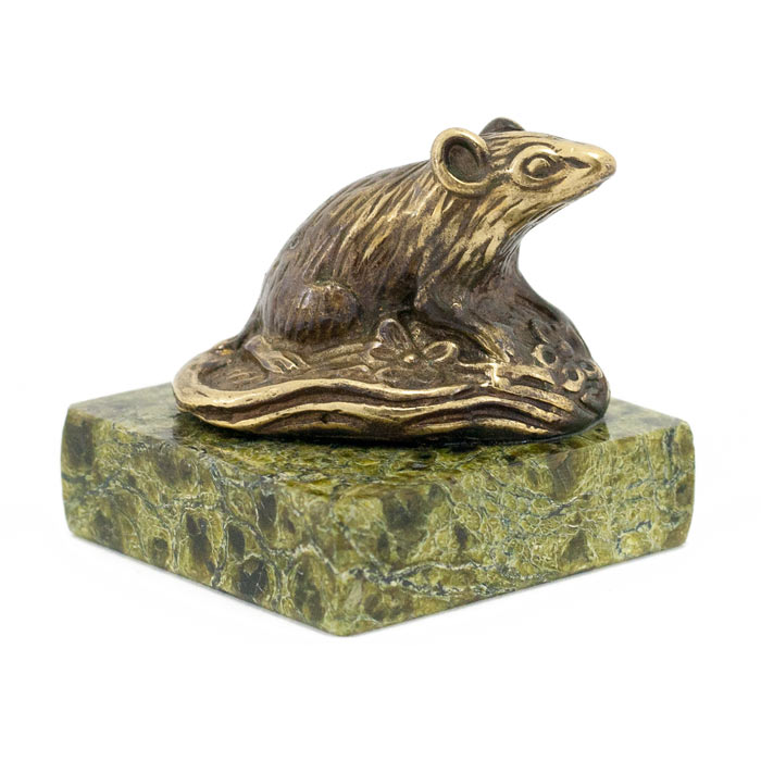 "Статуэтка ""крыса на поляне"" бронза змеевик"