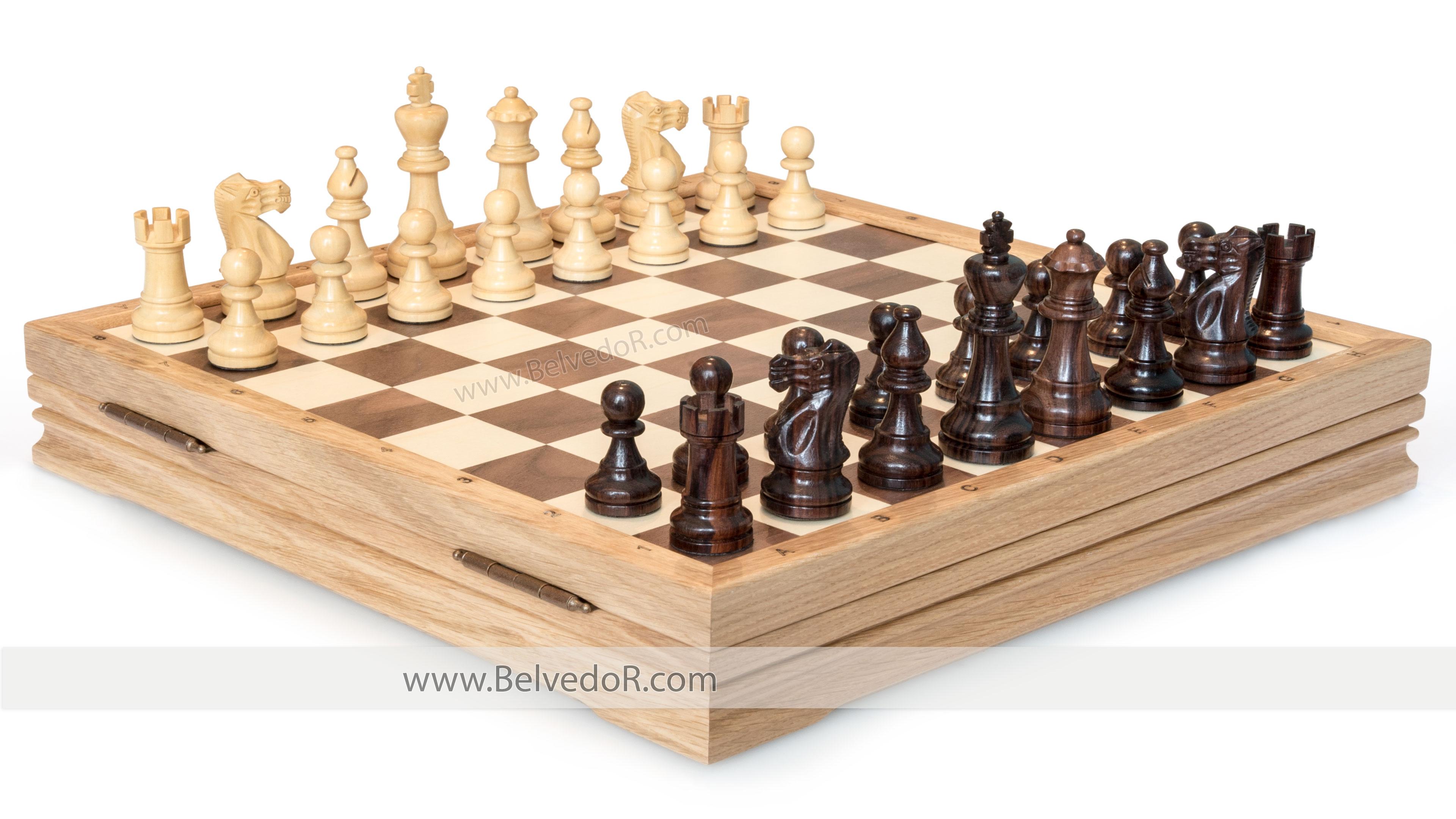 Шахматы классические средние деревянные утяжеленные 37х37см