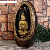 Фонтан настольный от сети, подсветка будда медитирует у водопада в скале 4