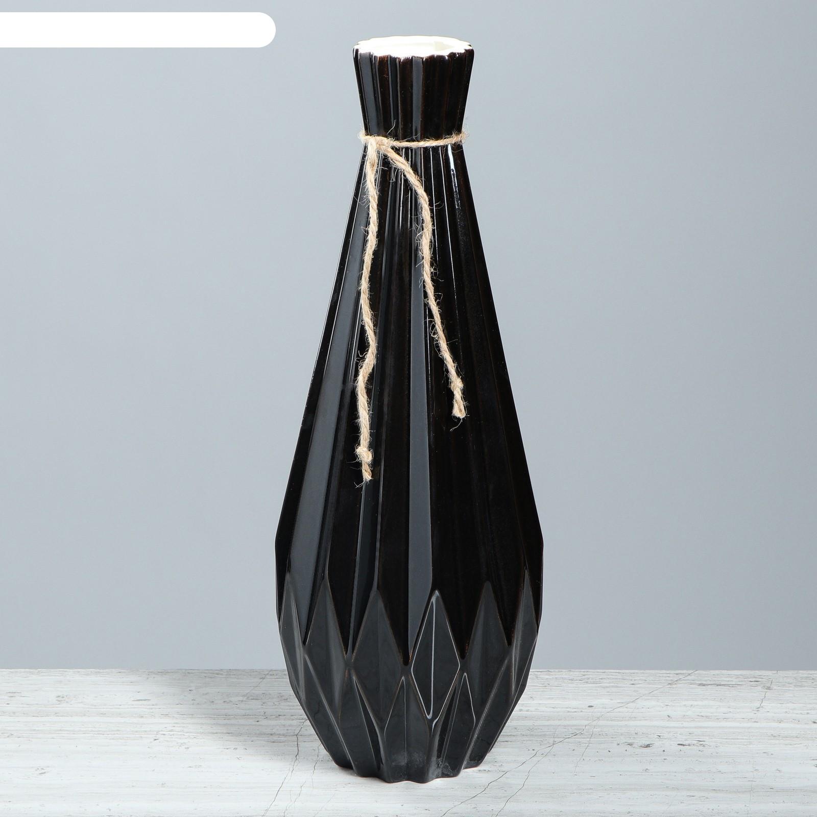 Ваза модерн большая, чёрный глянец (4233817) купить в интернет магазине Бельведор, Москва
