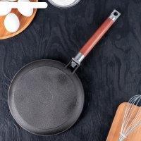 Сковорода чугунная для блинов 22 см со съемной ручкой
