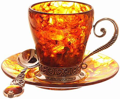 """Кофейный набор из янтаря """"антик""""(из бронзы ) на 2 персоны"""